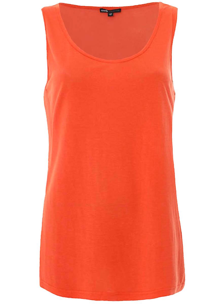 Майка женская oodji Collection, цвет: оранжевый. 21400314/17358/5500N. Размер 44-170 (50-170) пуловеры oodji пуловер