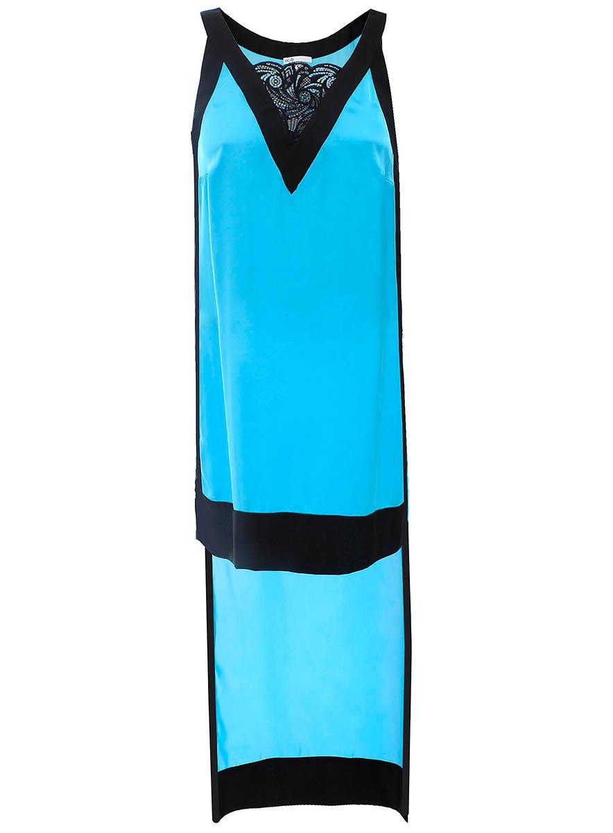 Майка женская oodji Collection, цвет: бирюзовый. 21404020M/15014/7300N. Размер 42-170 (48-170)21404020M/15014/7300NЖенская майка oodji Collection выполнена из высококачественного материала. Модель с V-образным вырезом горловины. Спинка удлинена.