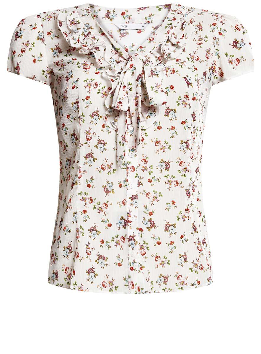 Блузка женская oodji Collection, цвет: белый, розовый. 21406022-3M/10466/1241F. Размер 46-170 (52-170) блузка женская oodji collection цвет серый черный розовый 21404007 15018 2341e размер 44 170 50 170