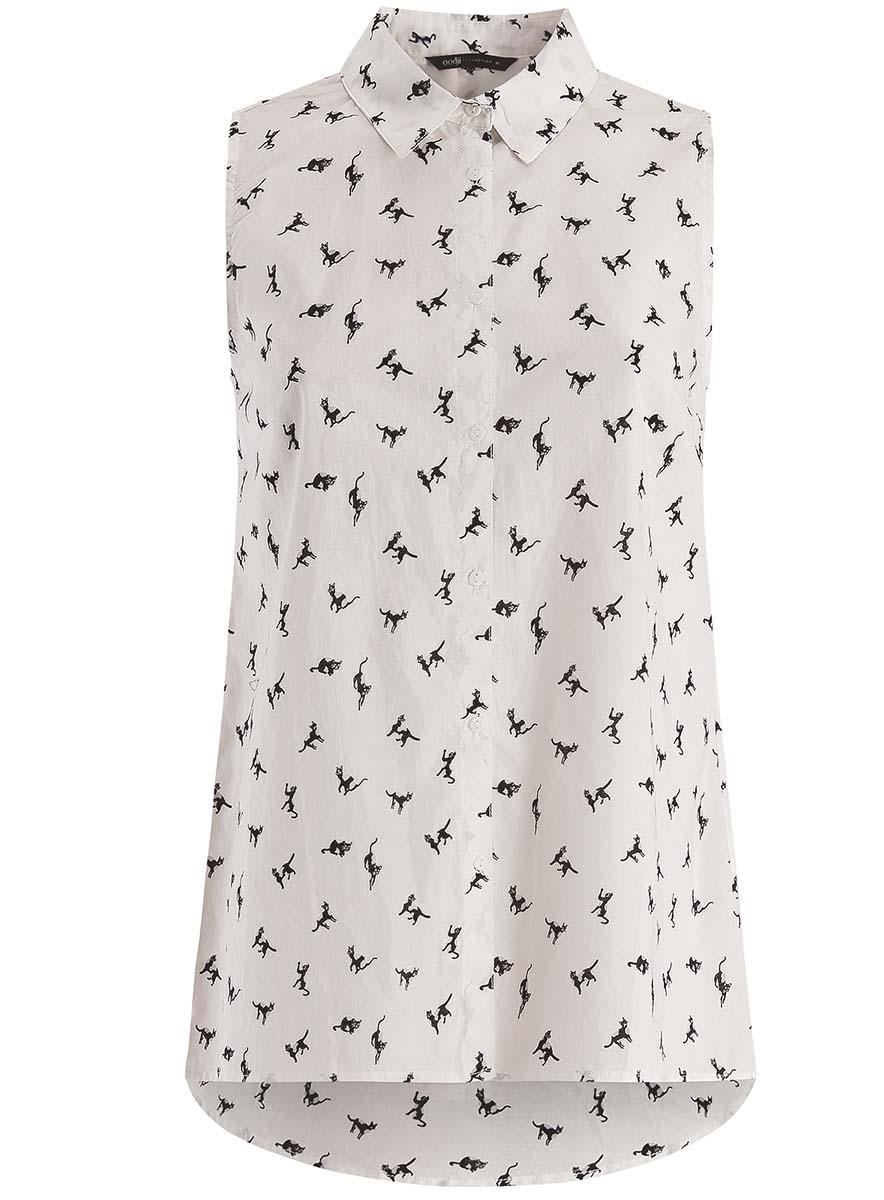 Блузка женская oodji Collection, цвет: белый, черный. 21412127-1M/12836/1229A. Размер 44-170 (50-170) блузка oodji блузка