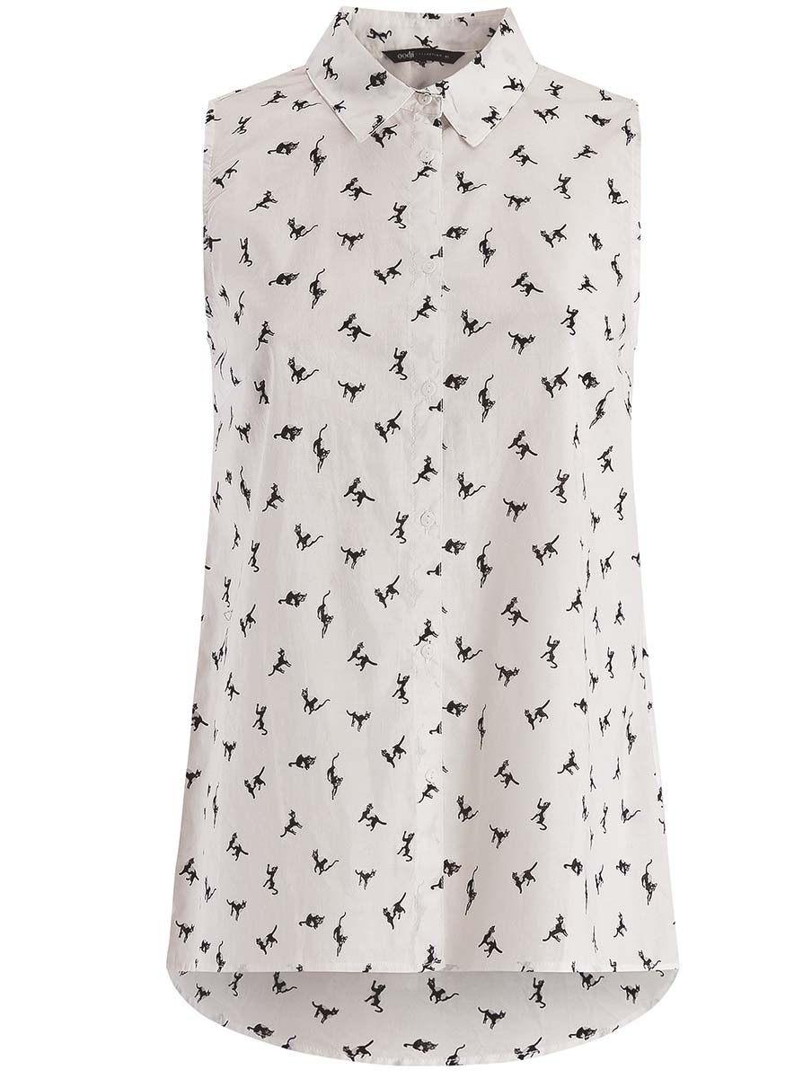 Блузка женская oodji Collection, цвет: белый, черный. 21412127-1M/12836/1229A. Размер 44-170 (50-170) блузка женская oodji collection цвет серый черный розовый 21404007 15018 2341e размер 44 170 50 170