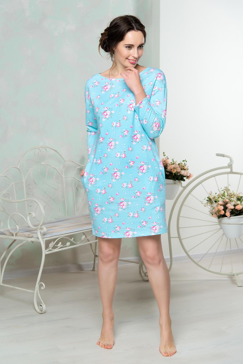 Платье домашнее Mia Cara, цвет: голубой. AW16-MCUZ-851. Размер 50/52AW16-MCUZ-851Платье домашнее Mia Cara выполнено с длинными рукавами и цветочным принтом. Модель изготовлена из высококачественного хлопка с добавлением эластана. Спинка дополнена вырезом и завязками, по бокам имеются врезные карманы.