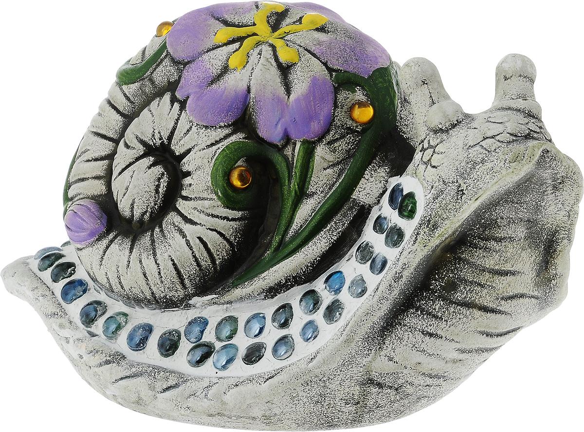 Фигурка декоративная Лилло Улитка, цвет: серый, зеленый, фиолетовый, высота 17,5 см улитка где можно в волгограде цена