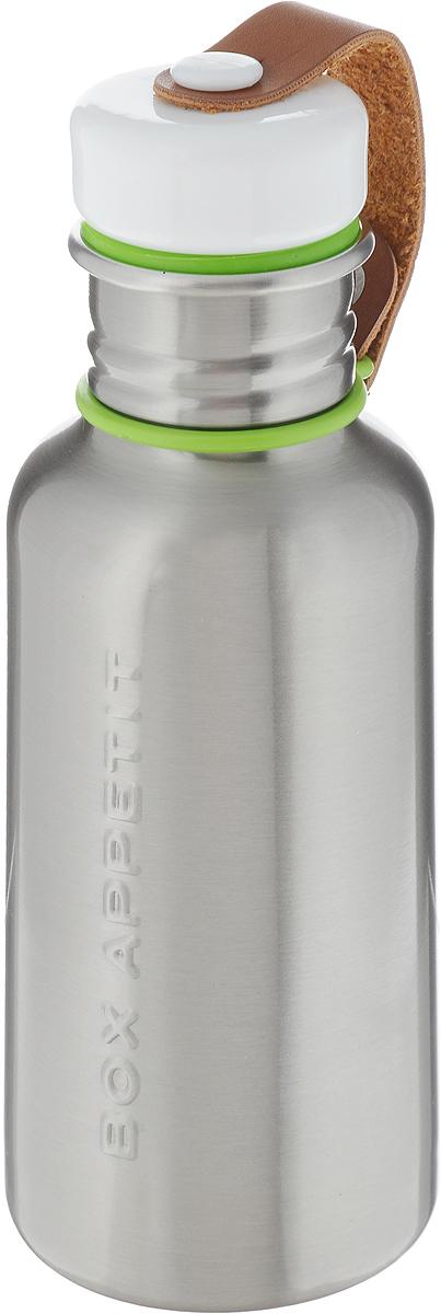 Фляга Black+Blum Box Appetite, цвет: стальной, зеленый, белый, 350 млBAM-WB-S001Фляга Black+Blum Box Appetite, изготовленная из нержавеющей стали, выполнена в винтажном стиле. Black+Blum Box Appetite - удобная и экологичная альтернатива одноразовым пластиковым бутылкам. Плотная крышка с ободком из силикона защитит содержимое от протекания и не потеряется благодаря ремешку из искусственной кожи.Объем: 350 мл.Размер фляги: 18,5 х 7 х 7 см.
