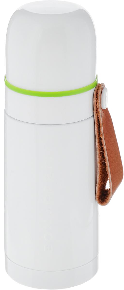 """Термос Black+Blum """"Box Appetite"""" изготовлен из высококачественной нержавеющей стали. Двухслойный корпус сохраняет температуру на срок до 24 часов. Термос предназначен для горячих и холодных напитков. Вакуумный закручивающийся клапан и удобная кнопка-дозатор предохраняют от проливаний. Крышку можно использовать как чашку. Оснащен ручкой из искусственной кожи.  Стильный термос понравится абсолютно всем и впишется в любой интерьер кухни.  Диаметр горлышка: 4,5 см.  Диаметр основания термоса: 6,8 см.  Высота термоса: 19,5 см."""
