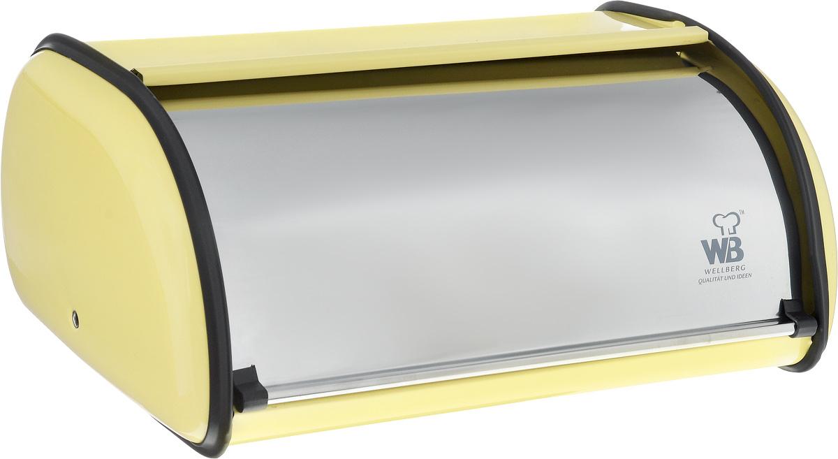 Хлебница Wellberg Felisa, цвет: кремовый, стальной, 36 х 24 х 15 см7021WBХлебница Wellberg Felisa, выполненная из высококачественной нержавеющей стали, позволит сохранить ваш хлеб свежим и вкусным. Изделие оснащено плотно закрывающейся крышкой. На задней стенке расположены отверстия для циркуляции воздуха. Стильный яркий дизайн хлебницы выгодно дополнит любой кухонный интерьер. Хлебница надолго сохранит свежесть, мягкость, аромат хлеба и других хлебобулочных изделий.