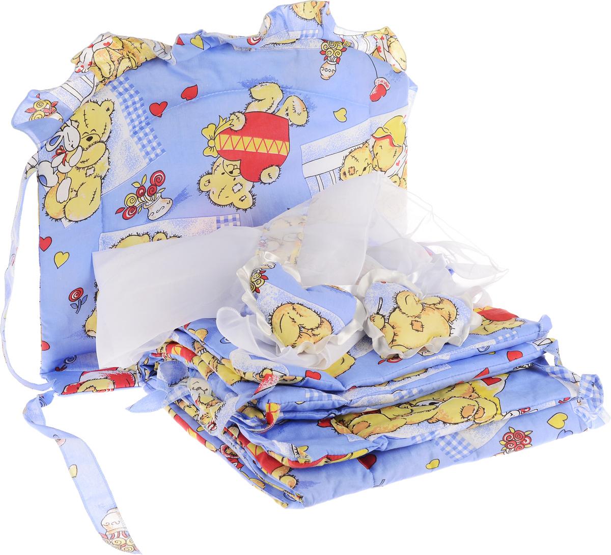 """Комплект для детской кроватки Фея """"Мишка с сердцем"""" состоит из бортика и балдахина. Бортик в кроватку состоит из четырех частей и закрывает весь периметр кроватки. Бортик крепится к кроватке с помощью специальных завязок, благодаря чему его можно поместить в любую детскую кроватку. Деликатные швы рассчитаны на прикосновение к нежной коже ребенка. Бампер оформлен изображениями милых мишек. Наполнителем служит 100% полиэстер. Балдахин, выполненный из полиэстера, может использоваться как для люльки, так и для кроватки.  Размер балдахина: 250 см х 150 см. Общая длина бортика: 360 см."""