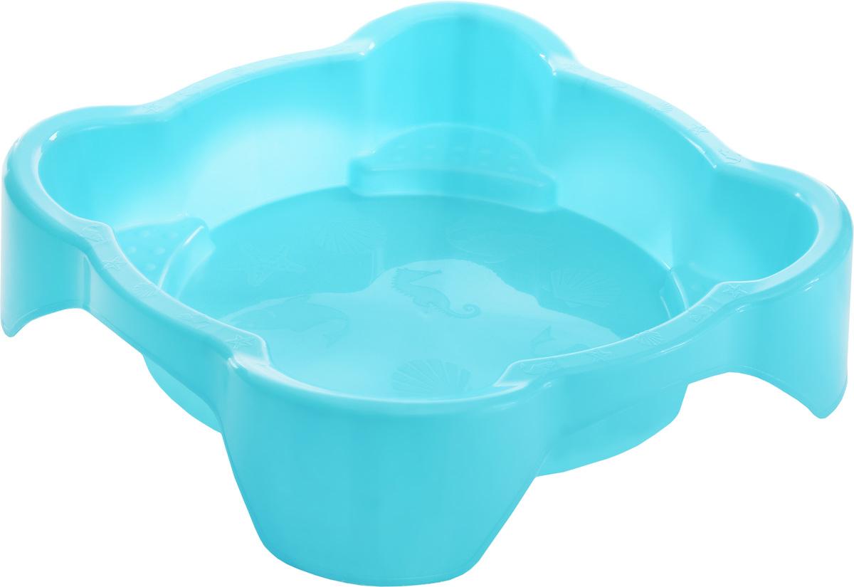 PalPlay Песочница квадратная с покрытием цвет голубой
