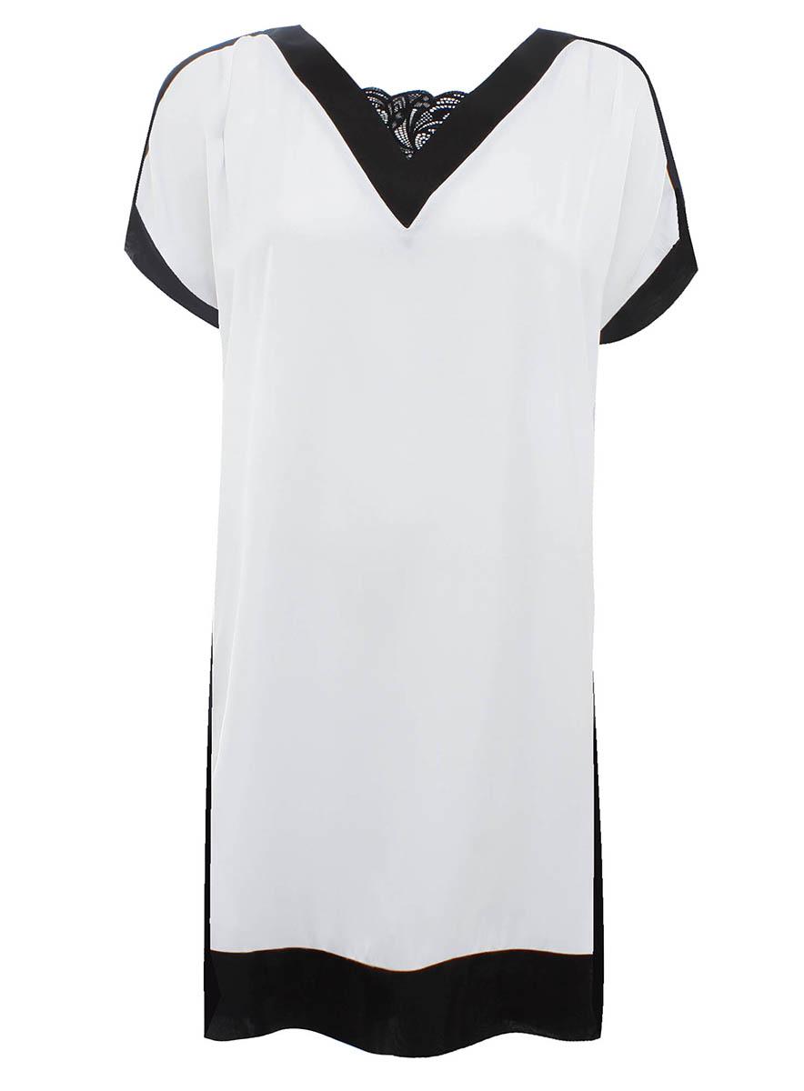 Платье oodji Collection, цвет: белый, черный. 21900114M/15014/1029B. Размер 36-170 (42-170)21900114M/15014/1029BОригинальное платье прямого кроя oodji Collection выполнено из легкого качественного материала. Модель средней длины с короткими рукавами имеет V-образный вырез горловины, оформленный кружевной вставкой.