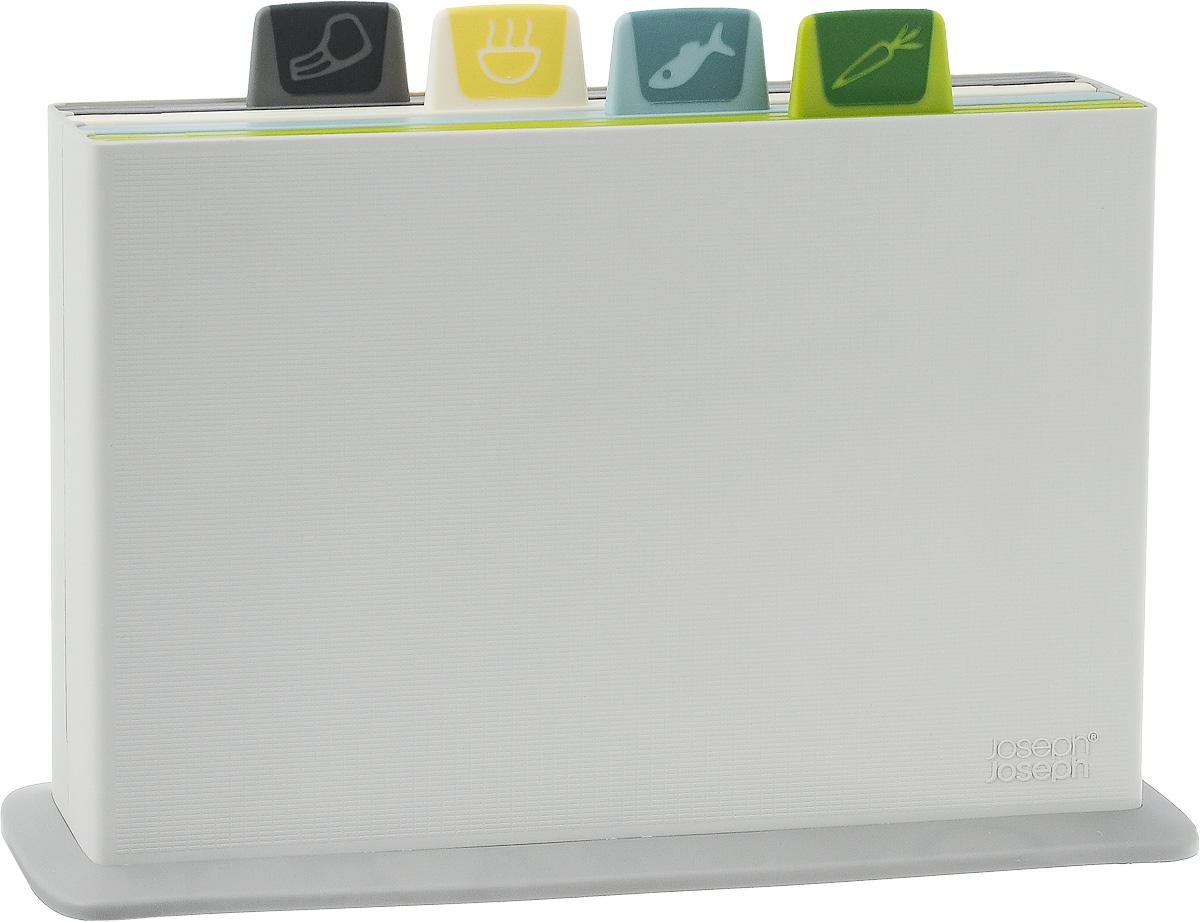 Набор разделочных досок Joseph Joseph Index, 5 предметов60113Набор Joseph Joseph Index состоит из четырех прямоугольных разделочных досок, помещенных в подставку. Это делает набор не только многофункциональным, но и очень удобным для хранения на кухне. Доски выполнены из пищевого пластика, и каждая доска имеет свой определенный цвет. Качественное антибактериальное покрытие досок препятствует размножению вредных микробов. Также доски снабжены ярлычком с изображением продуктов, для которых они предназначены. С каждой стороны досок имеется по 4 резиновых вставки, препятствующих скольжению. Подставка изготовлена из пищевого пластика с отверстиями для стока воды. Основание подставки оснащено нескользящими резиновыми ножками.Набор разделочных досок Joseph Joseph Index станет незаменимым и полезным аксессуаром на вашей кухне, который к тому же и стильно дополнит интерьер. Можно мыть в посудомоечной машине.Размер досок: 29,5 х 20 х 0,7 см. Размер подставки: 33,5 х 21 х 8 см.