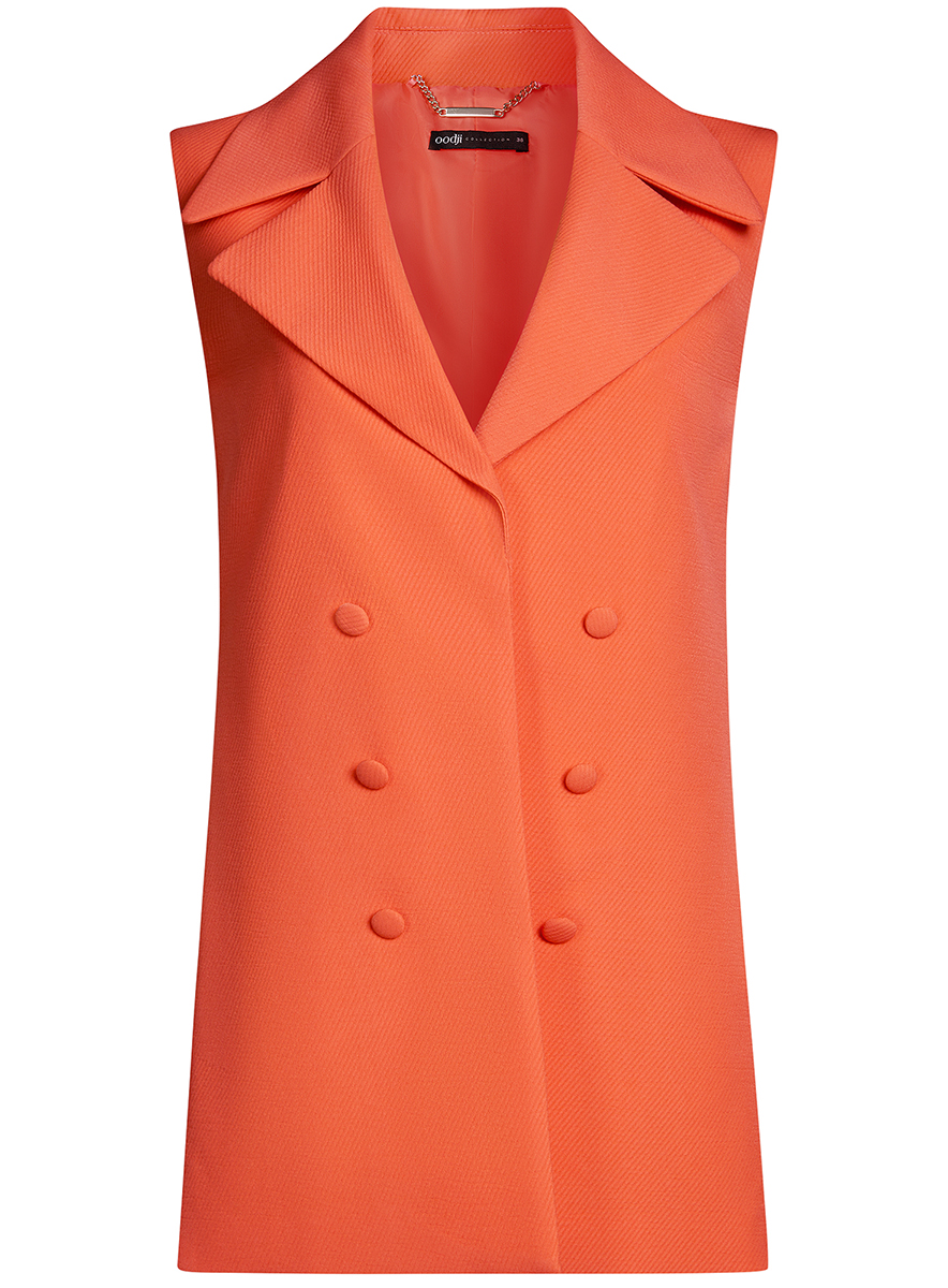 Жилет женский oodji Collection, цвет: оранжевый. 22305001-3/46415/5500N. Размер 44-170 (50-170) платье oodji collection цвет оранжевый 24001110 4 46432 5500n размер l 48 170