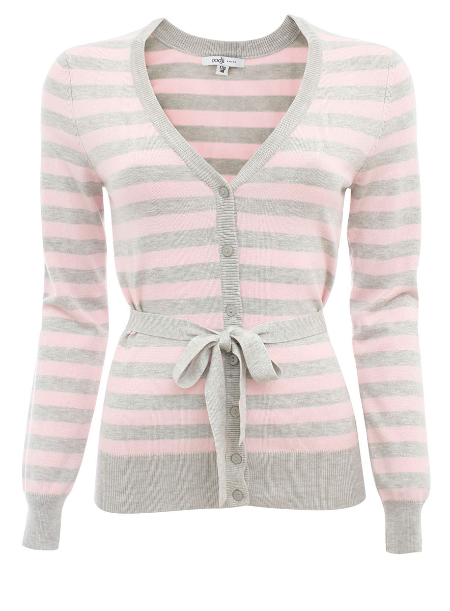 Кардиган женский oodji Ultra, цвет: светло-серый, светло-розовый. 63212277-1/24525/2040S. Размер 42 (48) кардиган moodo цвет светло розовый