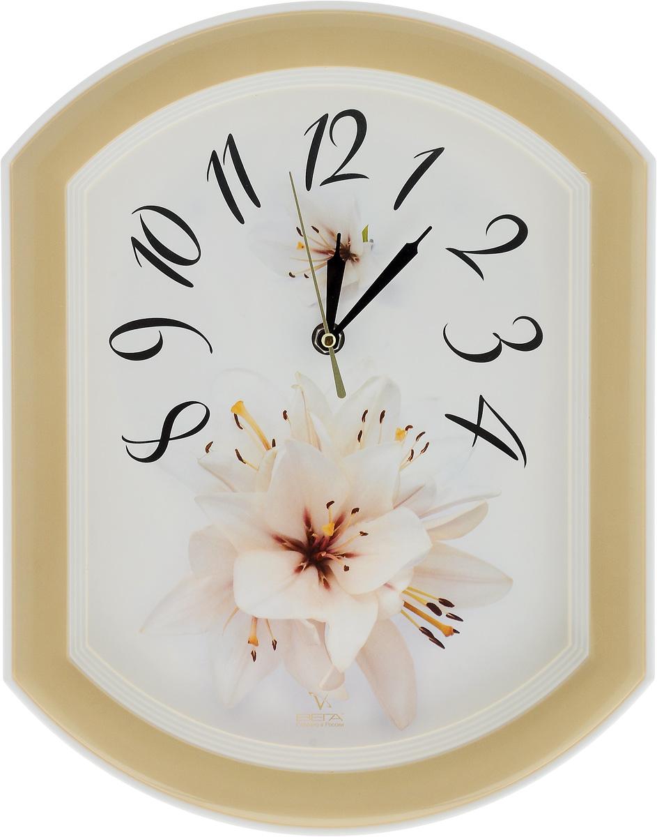 Часы настенные Вега Лилия, 34,5 х 27 смП2-14/7-24Настенные кварцевые часы Вега Лилия, изготовленныеиз пластика, прекрасно впишутся в интерьервашего дома. Круглые часы имеют три стрелки: часовую,минутную и секундную, циферблат защищен прозрачнымстеклом.Часы работают от 1 батарейки типа АА напряжением 1,5 В(не входит в комплект).Прилагается инструкция по эксплуатации.