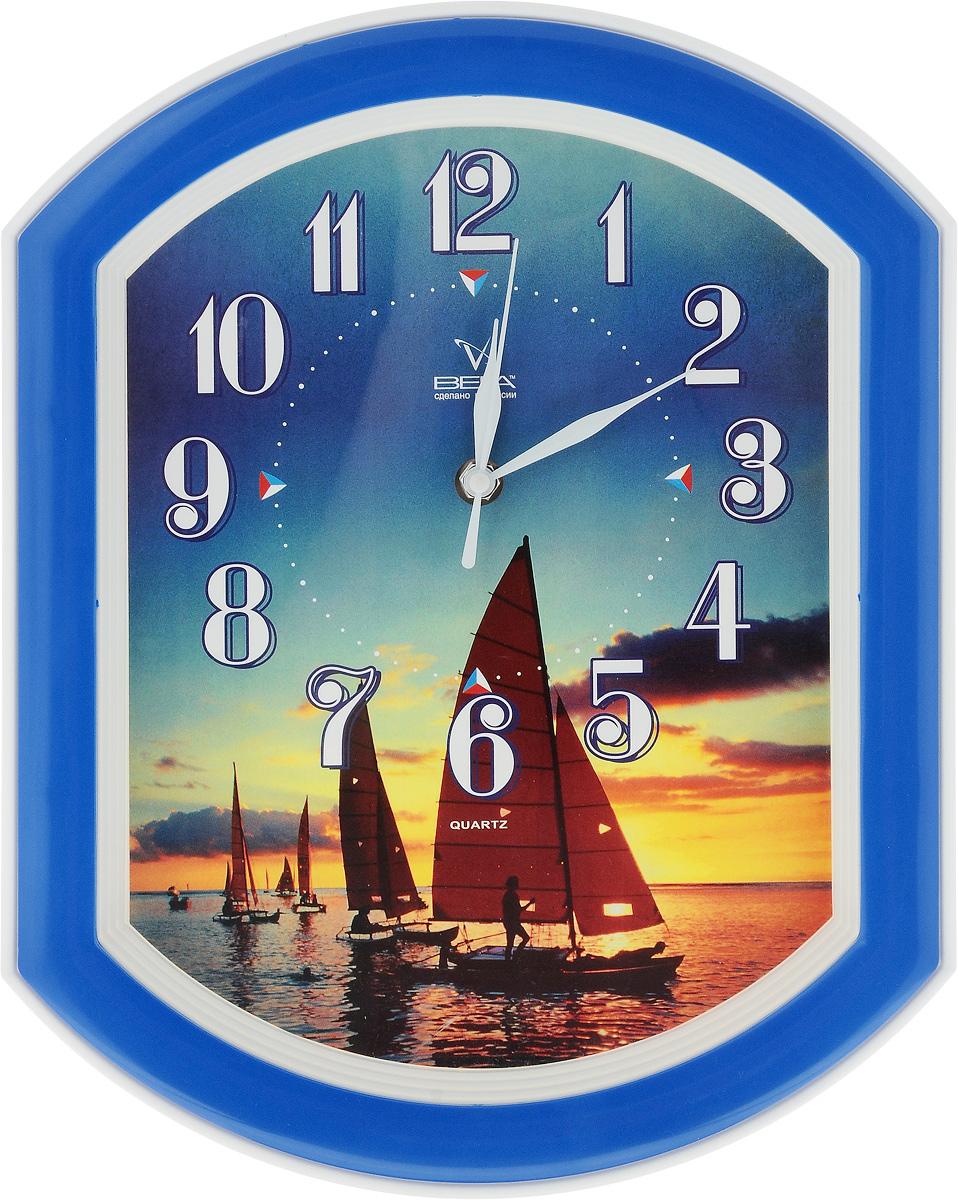Часы настенные Вега Парусник, 34,5 х 27 смП2-10/7-14Настенные кварцевые часы Вега Парусник,изготовленныеиз пластика, прекрасно впишутся в интерьервашего дома. Часы имеют три стрелки: часовую,минутную и секундную, циферблат защищен прозрачнымстеклом.Часы работают от 1 батарейки типа АА напряжением 1,5 В(не входит в комплект).Прилагается инструкция по эксплуатации.