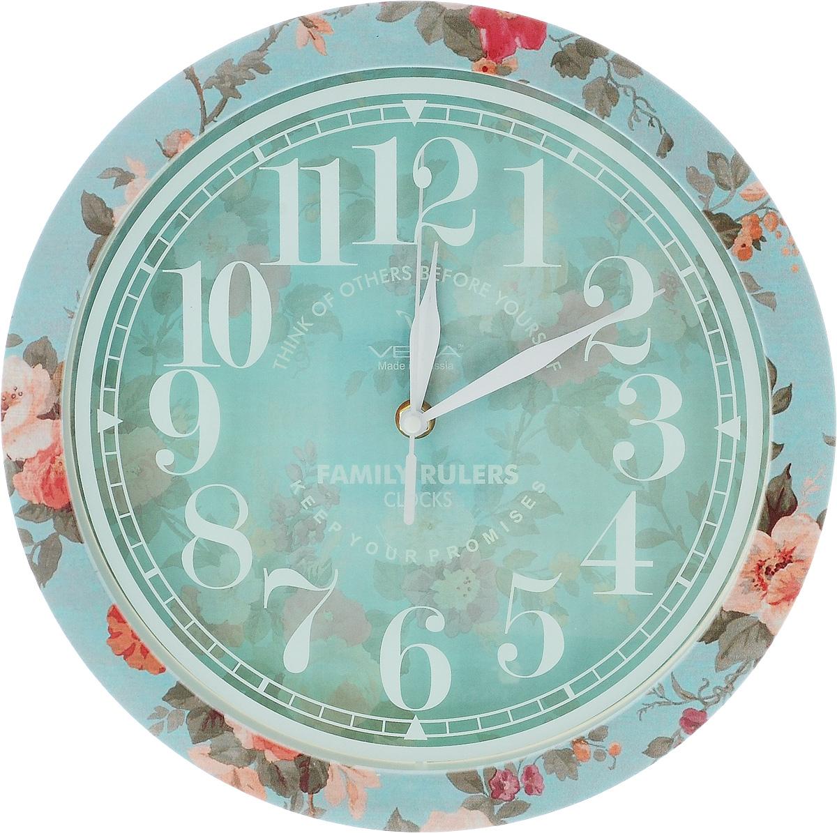 Часы настенные Вега Прованс, диаметр 28,5 смП1-239/7-239Настенные кварцевые часы Вега Прованс,изготовленные из пластика, прекрасно впишутся винтерьер вашего дома. Часы имеют три стрелки: часовую,минутную и секундную, циферблат защищен прозрачнымстеклом.Часы работают от 1 батарейки типа АА напряжением 1,5 В(не входит в комплект). Прилагается инструкция по эксплуатации.