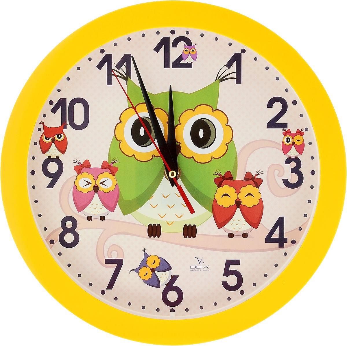 Часы настенные Вега Совы, диаметр 28,5 смП1-2/7-207Настенные кварцевые часы Вега Совы,изготовленные из пластика, прекрасно впишутся в интерьервашего дома. Часы имеют три стрелки: часовую, минутную исекундную, циферблат защищен прозрачным стеклом.Часы работают от 1 батарейки типа АА напряжением 1,5 В (невходит в комплект). Диаметр часов: 28,5 см.