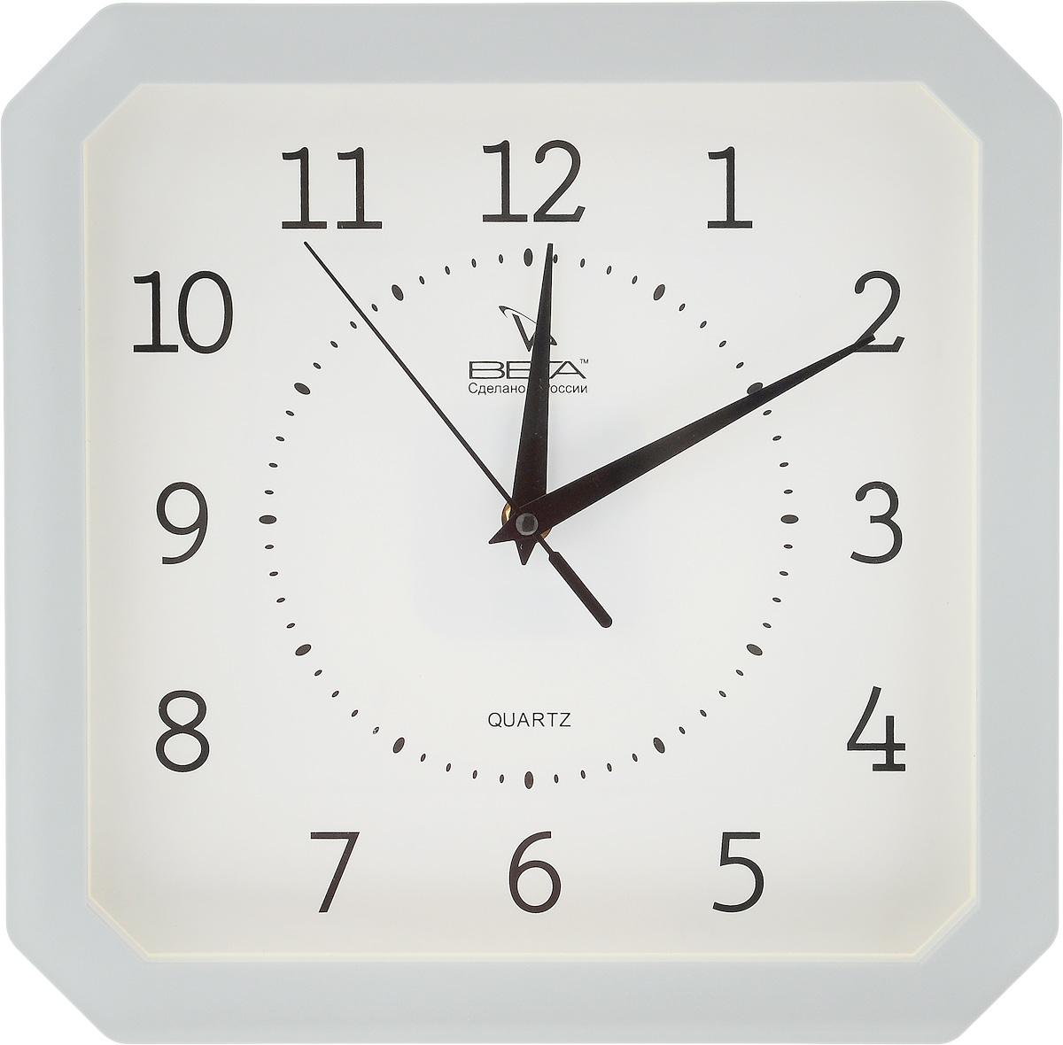 Часы настенные Вега Классика, цвет: серый, белый, 27,5 х 27,5 смП4-5/7-19Настенные кварцевые часы Вега Классика,изготовленные изпластика, прекрасно впишутся в интерьер вашего дома.Часыимеют три стрелки: часовую, минутную исекундную, циферблат защищен прозрачным стеклом. Часы работают от 1 батарейки типа АА напряжением 1,5 В(невходит в комплект). Прилагается инструкция по эксплуатации.