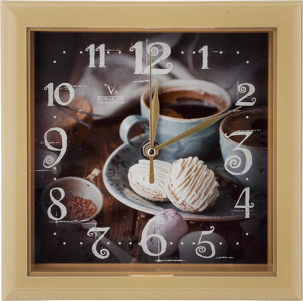 Часы настенные Вега Чашка кофе, 20,6 х 20,6 смП3-14-131Настенные кварцевые часы Вега Чашка кофе,изготовленные из пластика, прекрасно впишутся винтерьер вашего дома. Часы имеют три стрелки: часовую,минутную и секундную, циферблат защищен прозрачнымпластиком.Часы работают от 1 батарейки типа АА напряжением 1,5 В(не входит в комплект). Прилагается инструкция по эксплуатации.