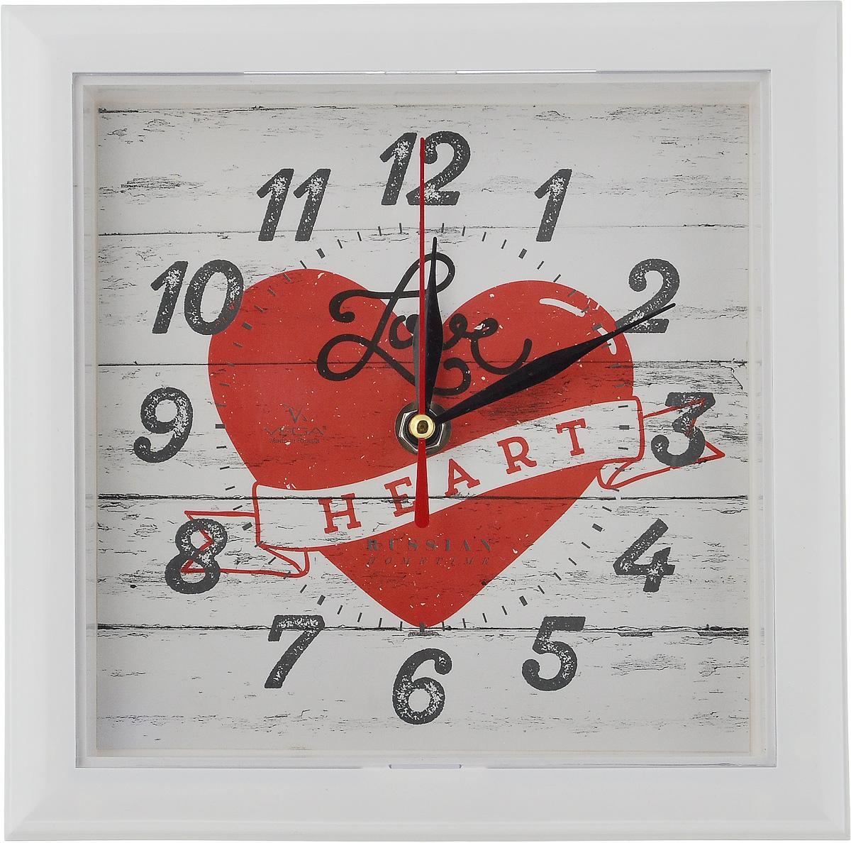 Часы настенные Вега Сердце, 20,6 х 20,6 х 3,5 смП3-7-124Настенные кварцевые часы Вега Сердце, изготовленные изпластика, прекрасно впишутся в интерьер вашего дома. Часыимеют три стрелки: часовую, минутную и секундную, циферблатзащищен прозрачным стеклом.Часы работают от 1 батарейки типа АА напряжением 1,5 В (невходит в комплект). Размер часов: 20,6 х 20,6 х 3,5 см.