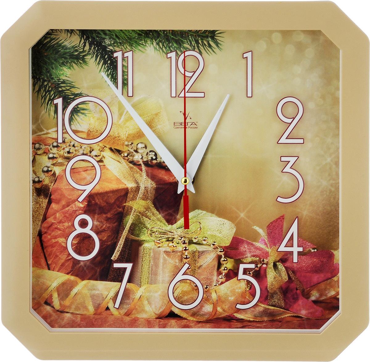 Часы настенные Вега Новогодние подарки, 27,5 х 27,5 х 3,5 смП4-14/7-86Настенные кварцевые часы Вега Новогодние подарки,изготовленные из пластика, прекрасно впишутся в интерьервашего дома. Часы имеют три стрелки: часовую, минутную исекундную, циферблат защищен прозрачным стеклом.Часы работают от 1 батарейки типа АА напряжением 1,5 В (невходит в комплект). Размер часов: 27,5 х 27,5 х 3,5 см.