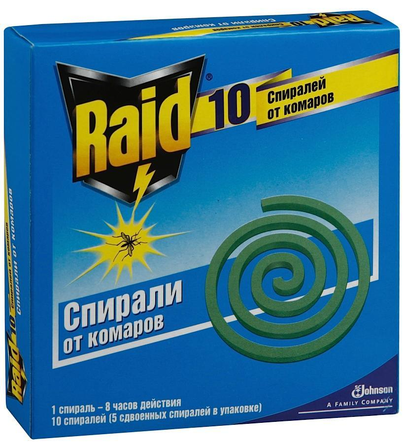 """Спирали против комаров """"Raid"""", 10 шт"""