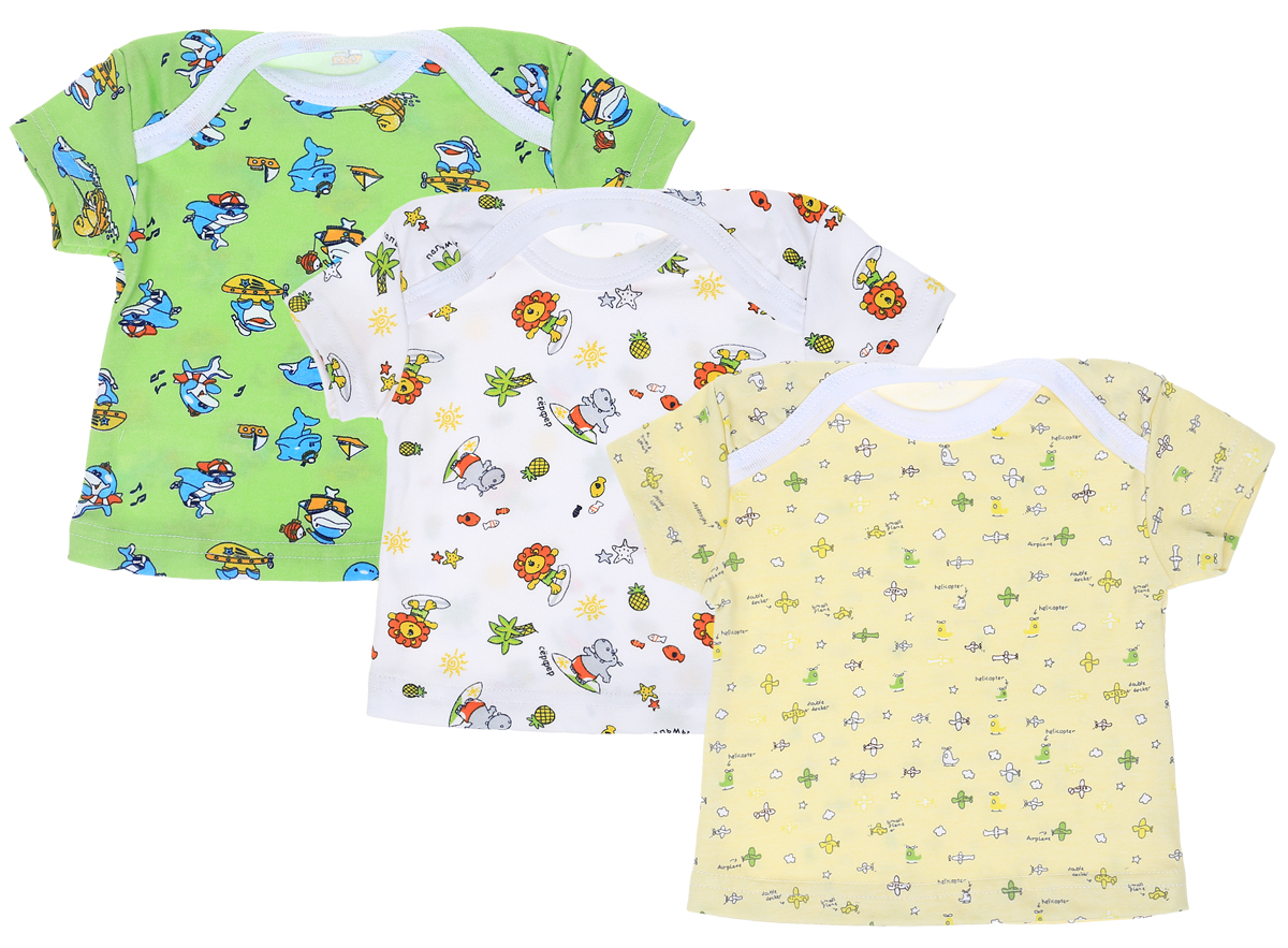 Футболка для мальчика Фреш Стайл, цвет: белый, зеленый, желтый, 3 шт. 33-235м. Размер 86 zest zest 23742 3