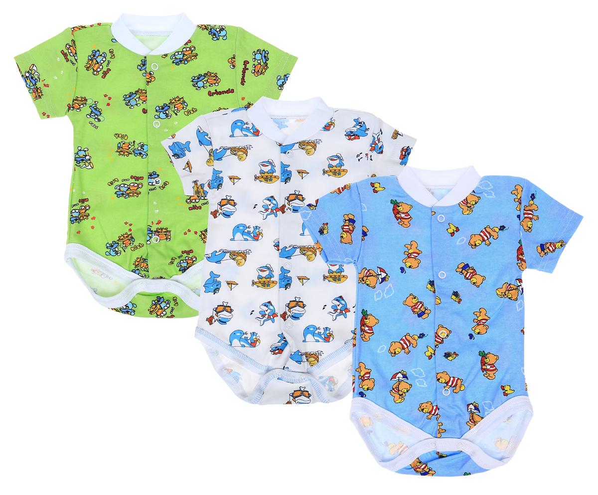 Боди для мальчика Фреш Стайл, цвет: голубой, белый, зеленый, 3 шт. 33-325м. Размер 8033-325мКомплект Фреш Стайл для мальчика выполнен из натурального хлопка и состоит из трех боди. Боди с круглым воротником и короткими рукавами имеют удобные застежки-кнопки по всей длине и на ластовице, которые помогают легко переодеть ребенка или сменить подгузник. Воротник изготовлен из мягкой трикотажной резинки. Украшены боди интересными рисунками.