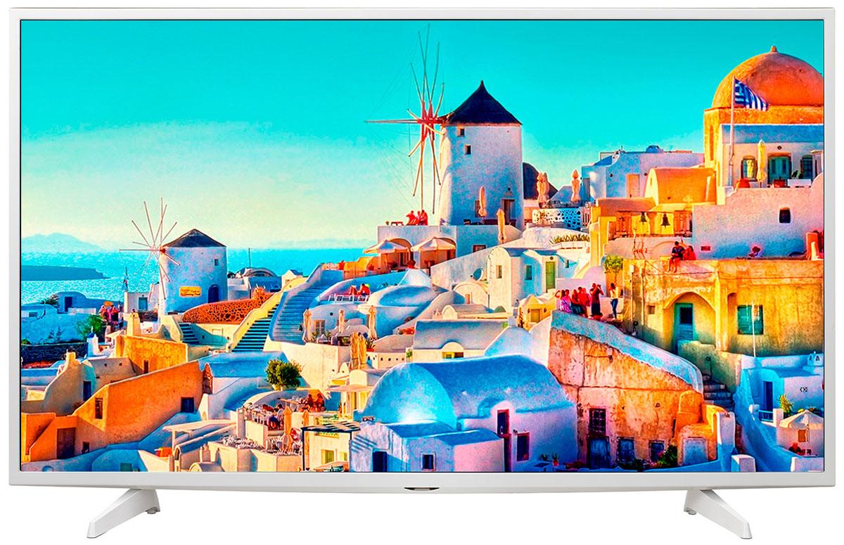 LG 43UH619V телевизор43UH619VОцените обновлённый дизайн корпуса телевизора LG 43UH619V с металлическими элементами.HDR Pro:Функция HDR Pro позволяет увидеть фильмы с теми яркостью, богатейшей палитрой и точностью цветовых оттенков, с какими они были сняты.Трёхмерная обработка цвета:В телевизоре LG 43UH619V используется трёхмерный алгоритм обработки цвета, что позволяет минимизировать искажения и добиться оттенков, максимально приближенных к натуральным.Энергосбережение:Эта функция включает в себя контроль подсветки, который позволяет регулировать яркость экрана в целях экономии электроэнергии.ULTRA Surround:Специальный алгоритм преобразовывает звуковые волны, исходящие из двухканальных динамиков так, что вам будет казаться, что вы слушаете 7-канальный звук. Получите ещё больше удовольствия от просмотра 4К фильмов!webOS 3.0:Обновлённая операционная система LG SMART TV на базе webOS 3.0 создана для того, чтобы доступ к фильмам, сериалам, музыке и интернет-порталам через телевизор был простым и удобным.