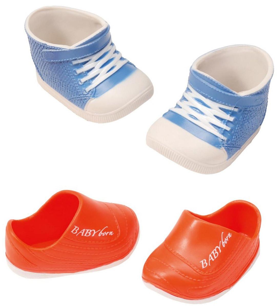 Baby Born Ботиночки для кукол цвет голубой белый оранжевый 2 пары smoby мебель для кукол колыбель baby nurse