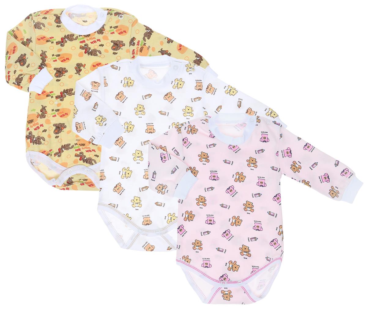 Боди для девочки Фреш Стайл, цвет: розовый, белый, желтый, 3 шт. 33-308д. Размер 86 боди и песочники hudson baby боди собачка 3 шт