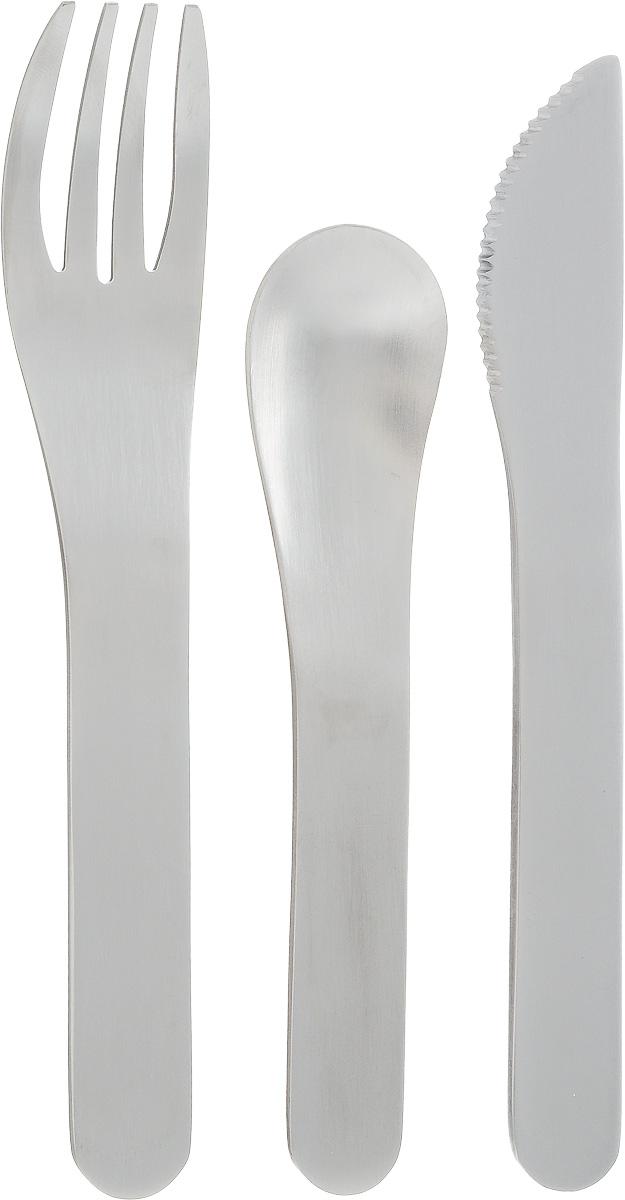 Набор столовых приборов Monbento Pocket, в футляре, цвет: серый, стальной, 4 предмета1007 01 010Набор столовых приборов Monbento Pocket состоит из ложки, вилки и ножа. Изделия выполнены из нержавеющей стали с матовой полировкой. Набор поставляется в компактном пластиковом футляре, который удобно носить с собой. Не важно, собираетесь ли вы в поездку или обедаете на рабочем месте - набор Monbento Pocket подойдет для любого случая. Набор соответствует размерам крышки ланч-боксов Monbento Original и Monbento Single. Вы сможете легко зафиксировать столовые приборы для удобной переноски. Столовые приборы можно мыть в посудомоечной машине.Длина ложки: 11,3 см. Длина вилки: 13,7 см. Длина ножа: 13,7 см. Размер футляра: 14,7 х 4,8 х 1,7 см.