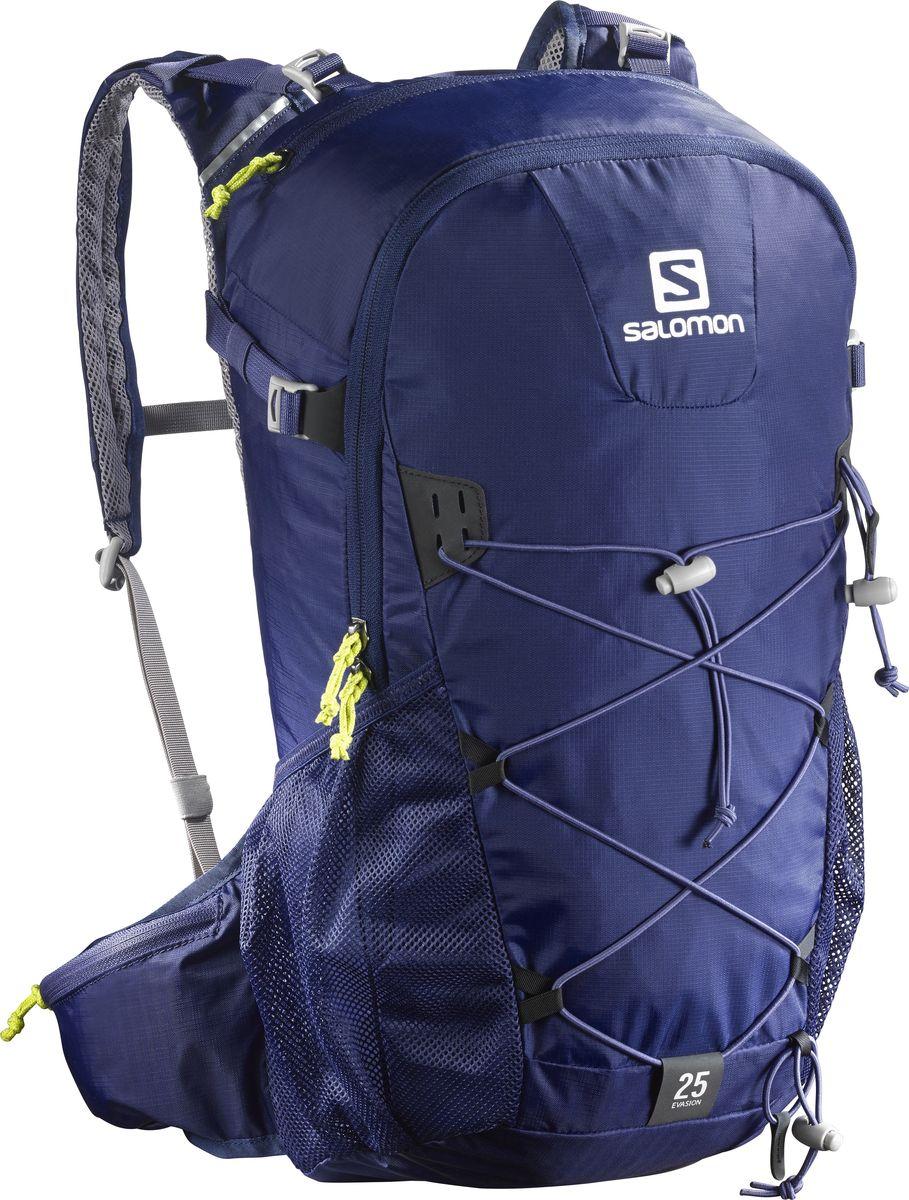 Рюкзак спортивный Salomon Evasion 25, цвет: синий, 25 л. L39319600L39319600Рюкзак Salomon Evasion 25 выполнен из высококачественного полиамида и полиэстера. Рюкзак имеет одно вместительное отделение и закрывается на застежку-молнию. Рюкзак оснащен мягкими удобными лямками, длина которых регулируется с помощью пряжек. На внешней стороне расположены два открытых кармана-сетки. Устойчивый и комфортный рюкзак Evasion 25 имеет фиксаторы для палок и другого снаряжения, необходимого во время однодневного похода.