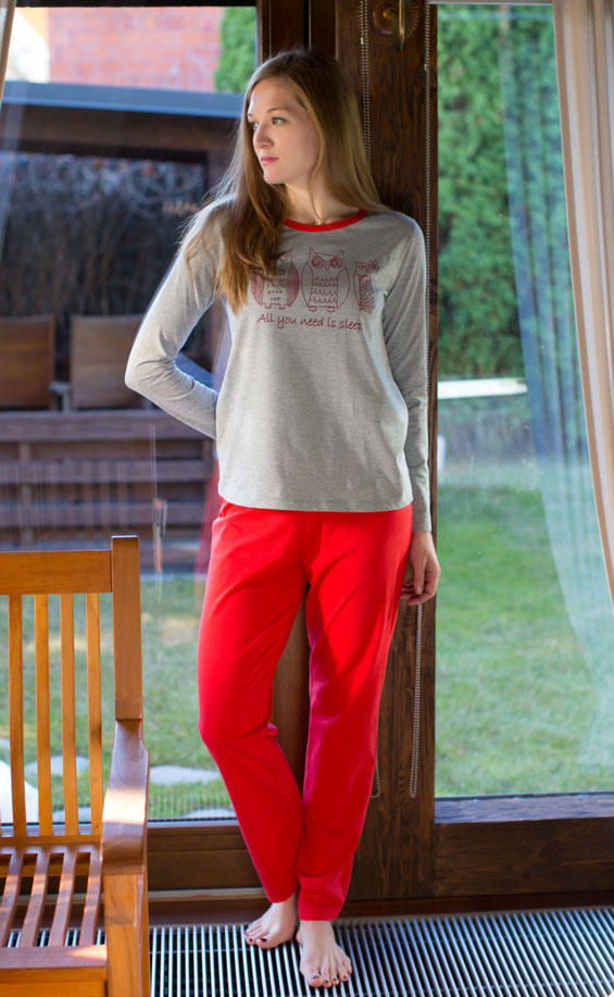 Домашний комплект (брюки, лонгслив) жен Violett Три совы, цвет: серый, красный. 17150117. Размер XL (50)17150117