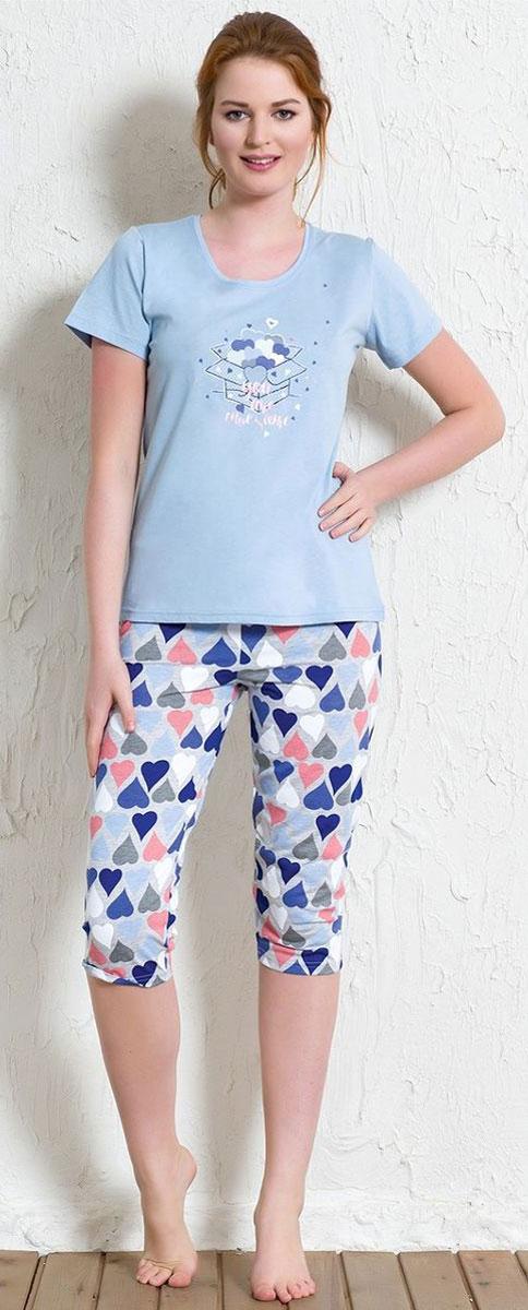 Костюм домашний женский Vienetta's Secret Сердечки: футболка, бриджи, цвет: голубой, мультиколор. 602089 5686. Размер XL (50) пижамы diadora домашний костюм
