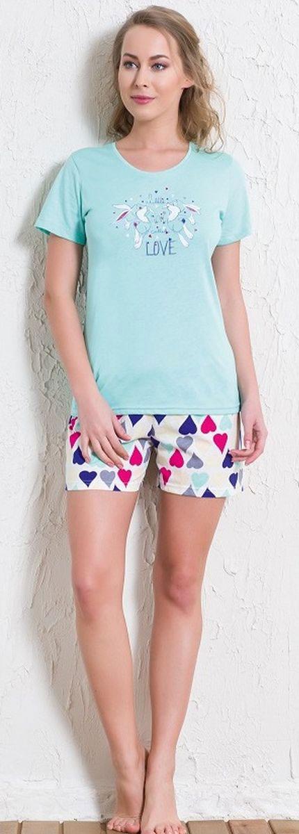 Костюм домашний женский Vienetta's Secret Два кролика: футболка, шорты, цвет: светло-бирюзовый, синий. 601007 5573. Размер S (44) женский брючный костюм qiaobeiyi 2015 femininos s 3xl c80323