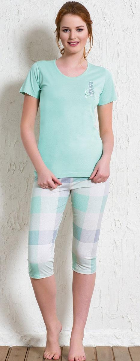 Костюм домашний женский Vienetta's Secret Башня: футболка, бриджи, цвет: салатовый, бежевый. 512016 5394. Размер M (46) пижамы diadora домашний костюм