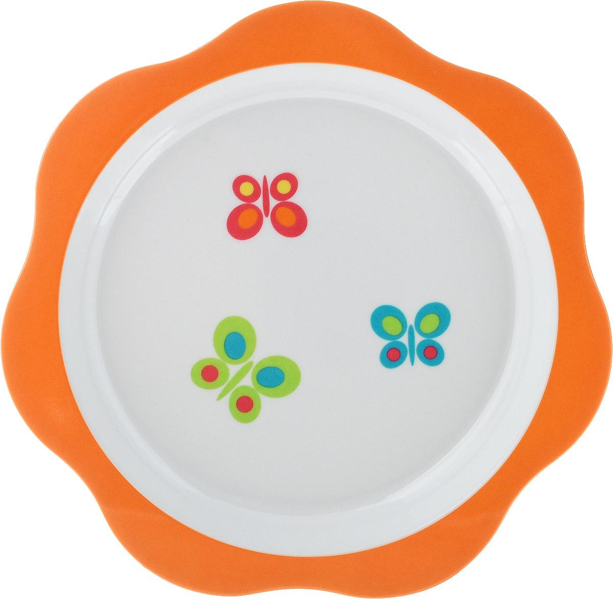 Тарелка детская Tescoma Bambini. Бабочки, цвет: оранжевый, белый, диаметр 22 см668012_оранжевыйДетская тарелка Tescoma Bambini. Бабочки изготовлена из безопасного пластика.Тарелочка, оформленная веселой картинкой забавных бабочек, понравится и малышу, и родителям! Ребенок будет с удовольствием учиться кушать самостоятельно.Тарелочка подходит для горячей и холодной пищи. Можно использовать в посудомоечной машине. Нельзя использовать в микроволновой печи.Внешний диаметр тарелки: 22 см. Внутренний диаметр тарелки: 17,7 см.