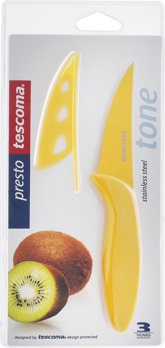 Нож универсальный Tescoma Presto Tone, с чехлом, цвет: желтый, длина лезвия 9 см863080_желтыйУниверсальный нож Tescoma Presto Tone предназначен для нарезки мяса, овощей, фруктов и других продуктов. Лезвие выполнено из высококачественной нержавеющей стали с антиадгезивным покрытием, а ручка из прочного пластика. Продукты не прилипают к лезвию. Изделие легко чистится. В комплект входит защитный чехол для бережного хранения. Можно мыть в посудомоечной машине, не рекомендуется использовать металлические губки и абразивные чистящие средства. Общая длина ножа: 18,7 см.