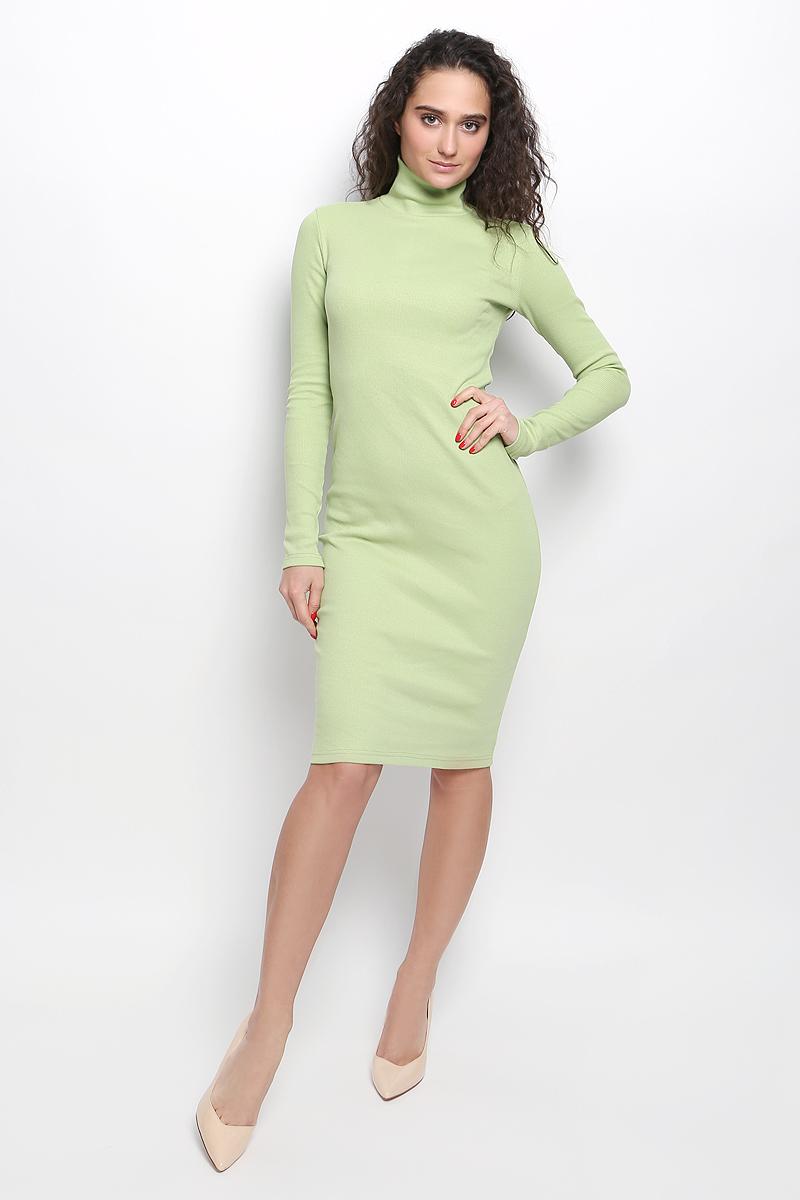 Платье Rocawear, цвет: светло-зеленый. R041643. Размер М (46)R041643Платье Rocawear выполнено из хлопка с добавлением лайкры. Модель средней длины с длинными рукавами имеет воротник-гольф. Платье великолепно тянется и превосходно садится по фигуре благодаря эластичной структуре.