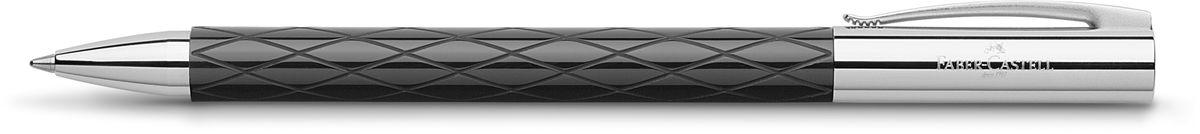 Faber-Castell Ручка шариковая Ambition Rhombus M цвет чернил черный148900Шариковая ручка Faber-Castell Ambition Rhombus M станет незаменимым атрибутом учебы или работы. Черный корпус изготовлен из редкой смолы с гравированным дизайном, оба конца из хромированного шлифованного металла, поворотный механизм twist, объемный черный стержень М. Высококачественные чернила позволяют добиться идеальной плавности письма. Ручка оснащена упругим клипом для удобной фиксации на бумаге или одежде. Модель упакована в индивидуальную подарочную упаковку.