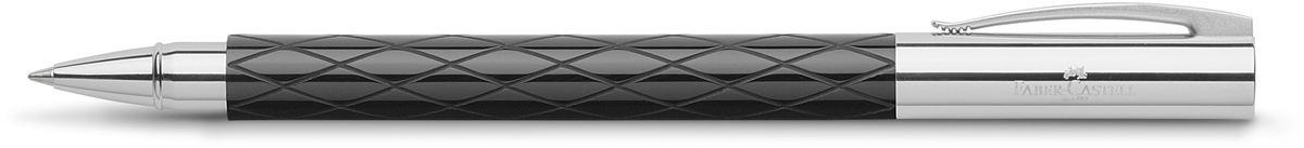 Faber-Castell Ручка-роллер Ambition Rhombus цвет чернил черный148910Ручка-роллер Faber-Castell Ambition Rhombus имеет черный стержень сбыстросохнущими чернилами. Черный корпус изготовлен из редкой смолы сгравированным дизайном, оба конца из хромированного шлифованного металла. Ручка упакована в индивидуальную подарочную коробку.