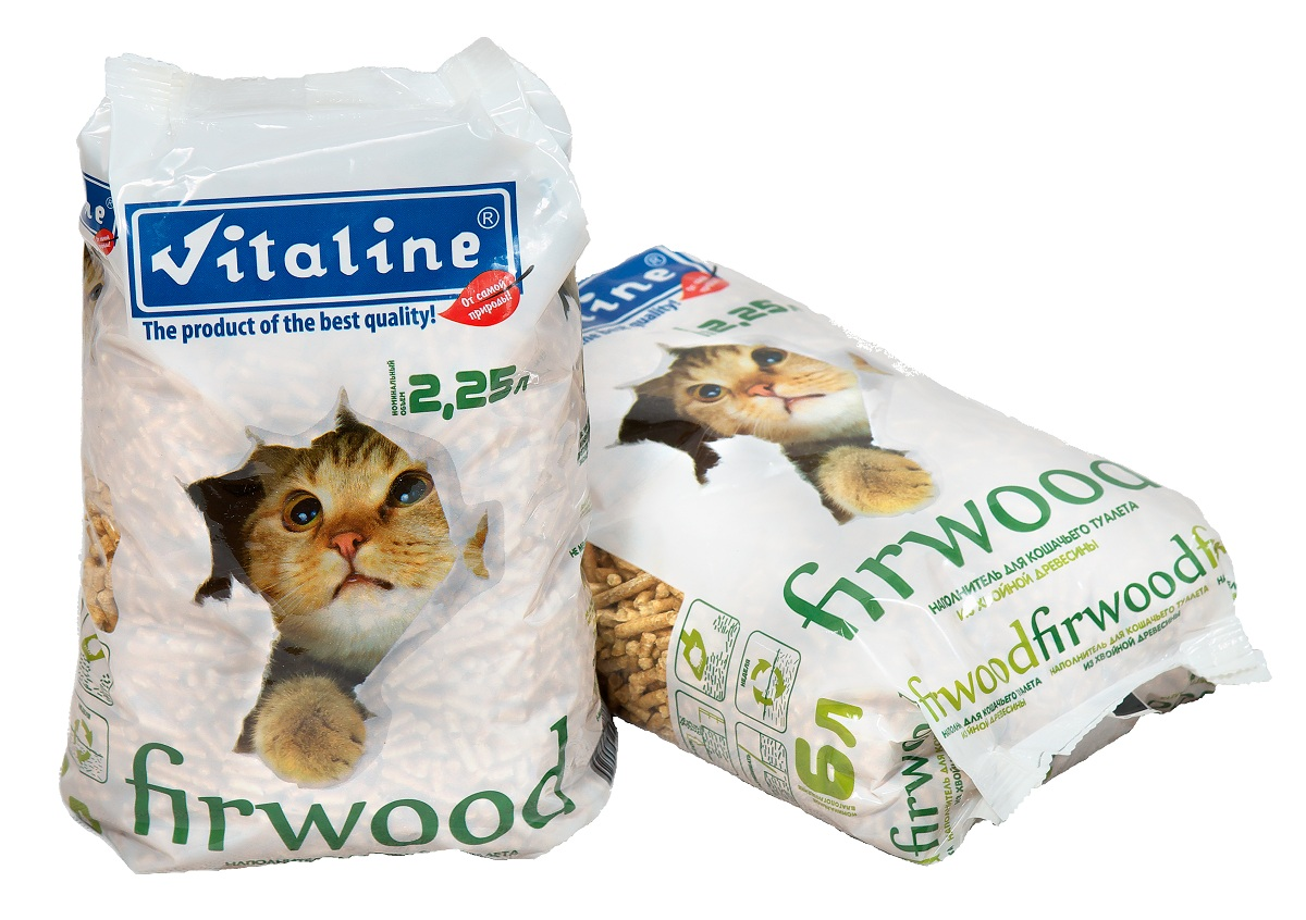 Наполнитель для кошачьего туалета Vitaline Фирвуд, древесный, 1,5 кг наполнитель для кошачьих туалетов кошкин секрет древесный 2 5 кг