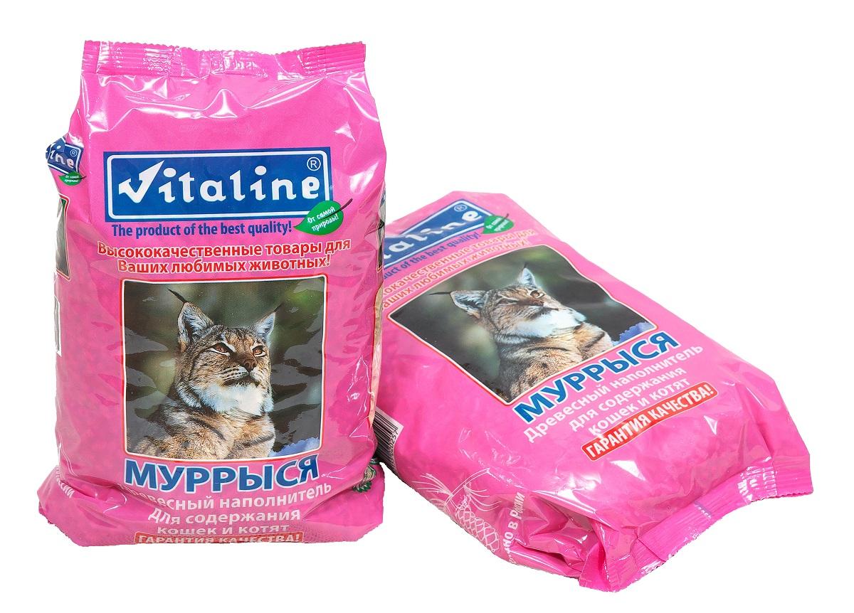 Наполнитель для кошачьего туалета Vitaline Муррыся, древесный, 1,5 кг наполнитель зооник древесный 5л 06234