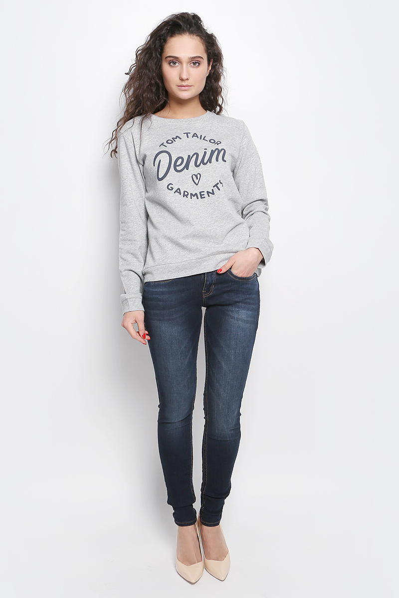 Свитшот женский Tom Tailor Denim, цвет: серый. 2530855.09.71_2707. Размер L (48) джемпер женский tom tailor цвет персиковый 2531198 00 71 5563 размер l 48