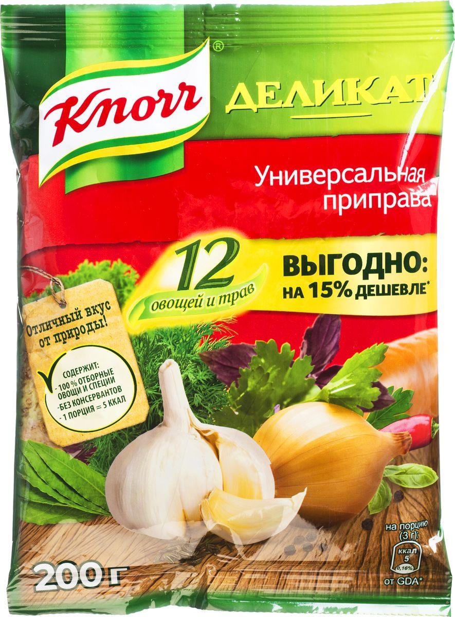 Knorr Универсальная приправа Деликат, 200 г65415106Универсальная приправа Knorr Деликат - это смесь натуральных трав, специй и сушеных овощей, собранных в особой пропорции. Такое сочетание позволяет добиться яркого насыщенного вкуса при приготовлении разнообразных любимых блюд без лишних хлопот. Приправа имеет вид разнородной массы мелкого помола, что позволяет добавить ее сразу во время приготовления. Удобная упаковка не пропускает никаких посторонних запахов, сохраняя все свойства смеси. Кроме того, на ней можно найти рекомендации по использованию, одобренные профессиональными поварами, благодаря чему первые и вторые блюда получатся ароматными и необыкновенно вкусными.Уважаемые клиенты! Обращаем ваше внимание, что полный перечень состава продукта представлен на дополнительном изображении.