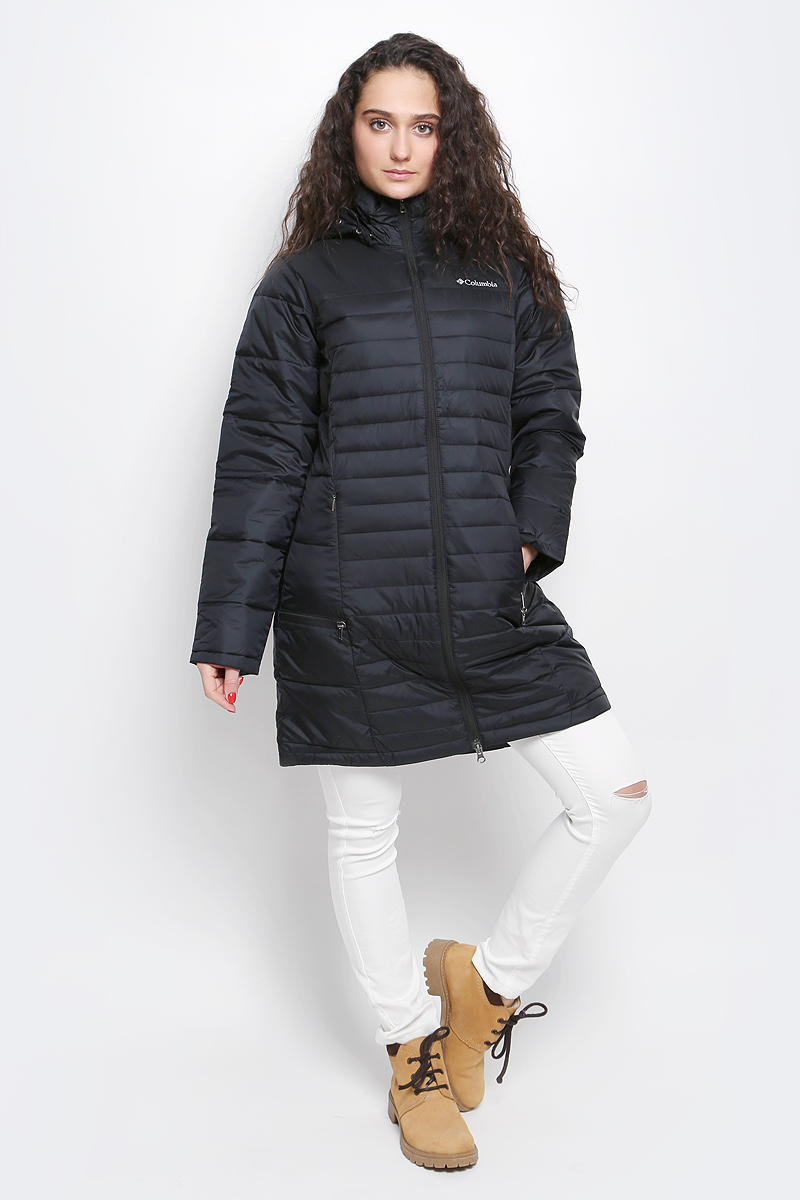 Куртка женская Columbia Powder Pillow, цвет: черный. 1515221-010. Размер M (46)1515221-010Приталенная женская куртка станет идеальным вариантом для походов в прохладную погоду. Водоотталкивающая пропитка ткани защитит куртку от снега, мелкого дождя и грязи.Искусственный пух, использованный в качестве утеплителя, не только превосходно согреет, но и обеспечит легкость изделия.В модели предусмотрен регулируемый капюшон, а четыре внешних кармана на молнии и внутренний кармашек на липучке отлично подойдут для хранения нужных мелочей.Рекомендуемый температурный режим для данной модели до -5°С , исходя из расчета на среднюю физическую активность - ходьбу 4 км/ч.