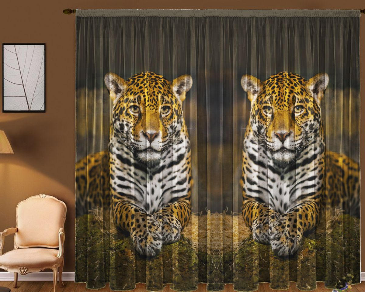 Комплект фототюлей Zlata Korunka Леопард, на ленте, высота 270 см комплект фототюлей zlata korunka арабеска на ленте высота 270 см