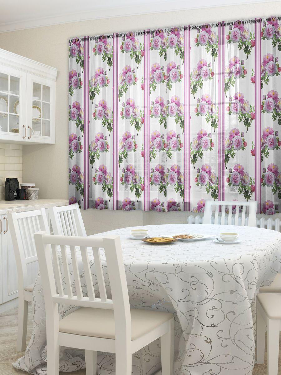 """Комплект фототюлей для кухни Zlata Korunka """"Безе"""", на ленте, цвет: розовый, белый, высота 160 см"""