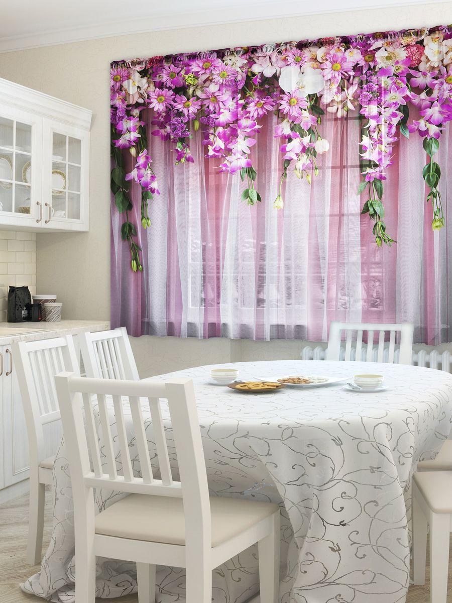 Комплект фототюлей для кухни Zlata Korunka Ламбрекен из цветов , на ленте, высота 160 см
