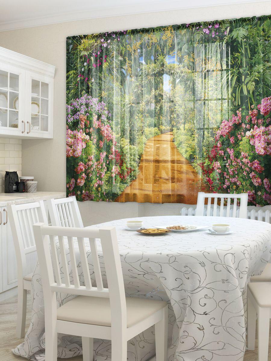 Комплект фототюлей для кухни Zlata Korunka Лиана, на ленте, высота 160 см